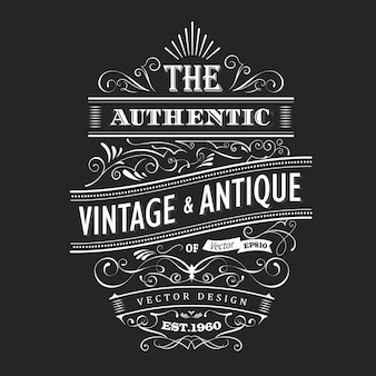 Vintage design western label typography vector