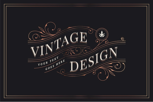 Design vintage con decorazioni ornamentali