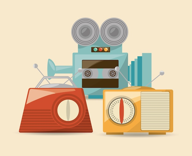 Винтажный дизайн с иконкой для видеокамеры и радио
