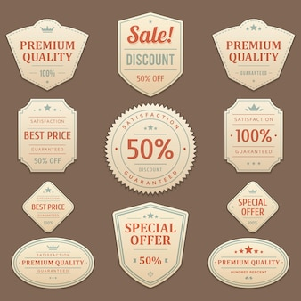 Vintage discounts and sales stickers. exclusive leather faded label with best red promotion marketing deals. premium guarantee maximum quality of original with business focus emblem customer.