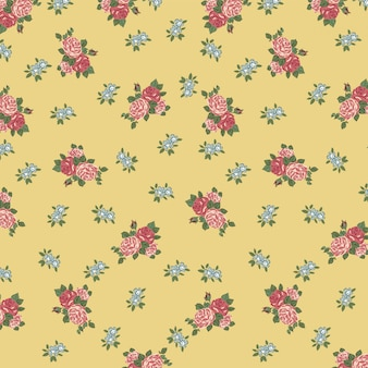 Vintage ditsy floral in yellow background