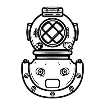ビンテージダイバーヘルメット。ロゴ、ラベル、エンブレム、記号の要素。図