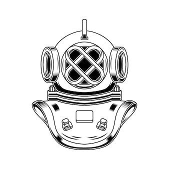 조각 스타일의 빈티지 다이버 헬멧.