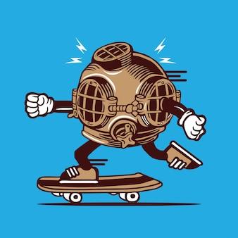 Vintage diver helmet skateboarding character design