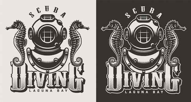 Vintage diving center monochrome logotypes with mask and snorkel illustration