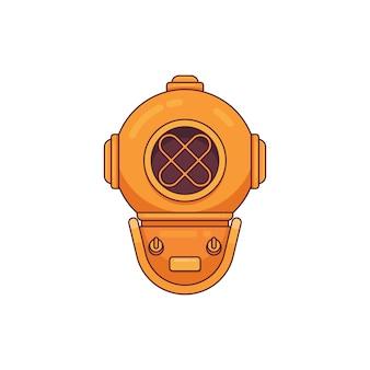 Vintage diving helmet flat line logo minimalist style