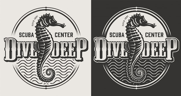 Vintage diving labels with seahorses and dive helmet in monochrome style illustration