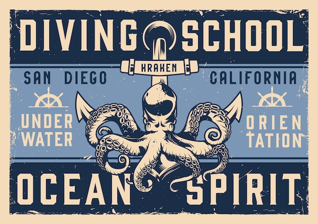 Vintage diving school horizontal poster