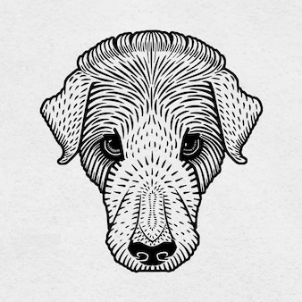 Винтажная собака черная линогравюра рисованной