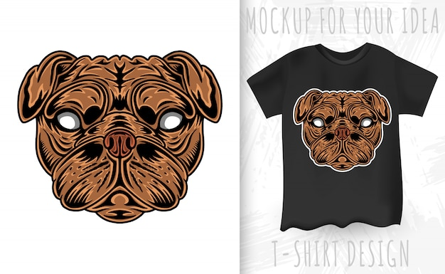 Vintage dog pug face. heading vintage style isolated