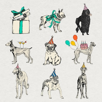 Vintage dog stickers in birthday theme set, remixed from artworks by moriz jung