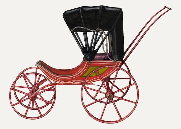 Rex f. bush의 작품에서 리믹스된 빈티지 인형 마차 벡터 일러스트레이션.