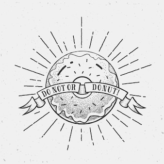 Vintage doughnut illustration or logo template in dot work style with shabby textures and retro rays.