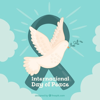 Vintage dove and peace ribbon background