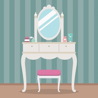 Vintage dressing table with mirror, table, chair and cosmetics. flat style vector illustration.