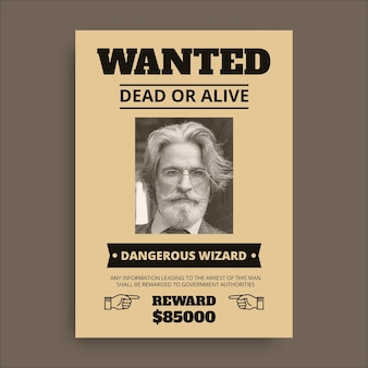 Vintage duotone wizard wanted poster