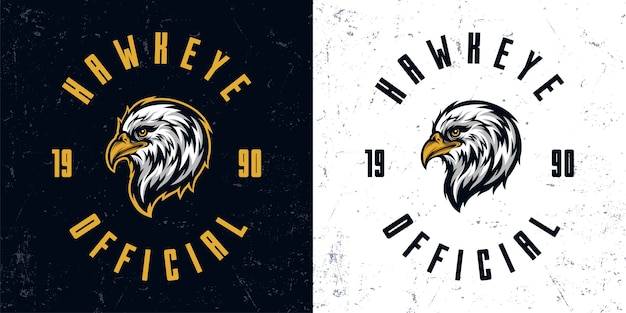 Vintage eagle head mascot logo illustration template