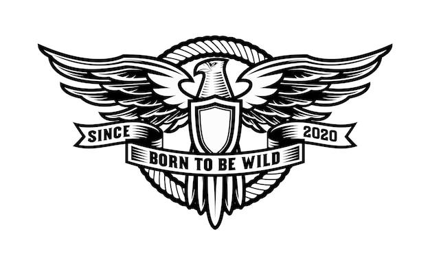 Винтажный логотип орла со щитом и круглой веревкой