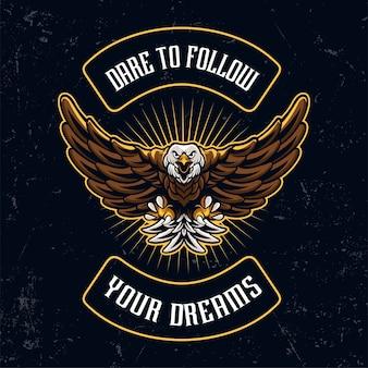 Винтажный орел талисман красочные иллюстрации