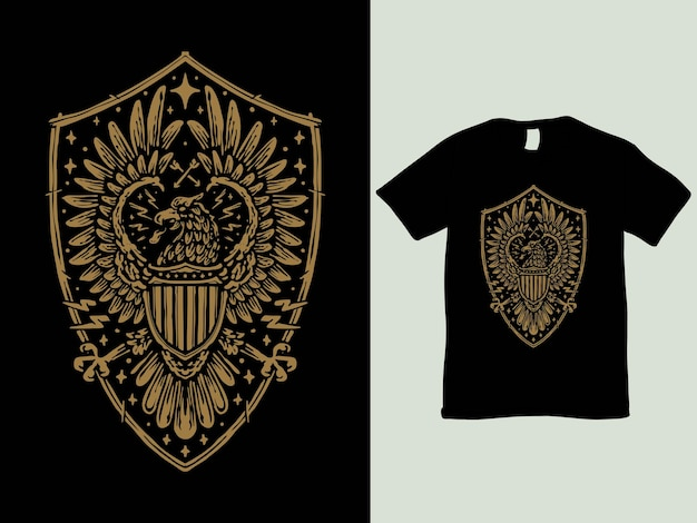 Vintage eagle and shield badge t shirt design