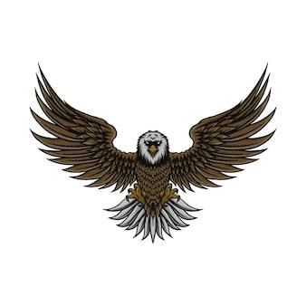 Vintage eagle spread vector illustration