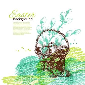 Винтажный пасхальный фон с рисованной иллюстрации эскиза