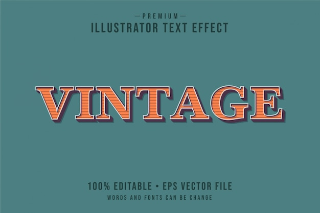 Vintage editable 3d text effect or graphic style with red orange