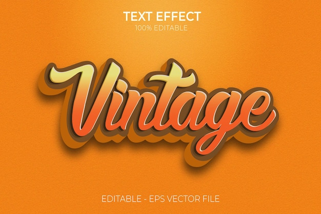 Vintage editable text effect vintage retro design new creative 3d bold text style premium vector
