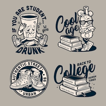 Vintage education monochrome badges