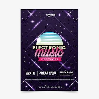 Vintage electronic music poster template