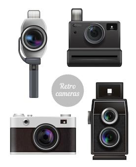 ヴィンテージ電子プロの写真とビデオ技術の現実的な写真セット