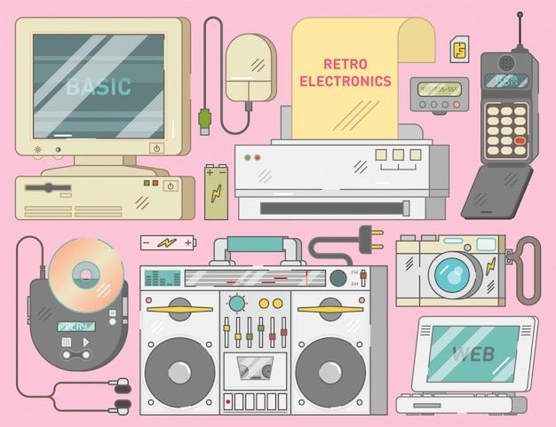 90 년대의 빈티지 전자 제품 컬렉션