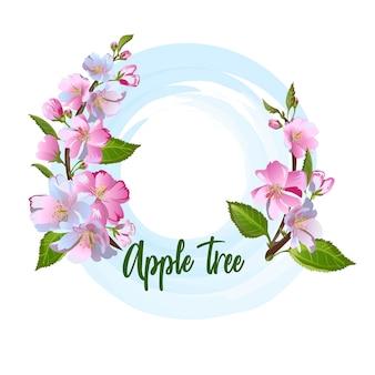 Vintage elegance blossom apple tree flowers.