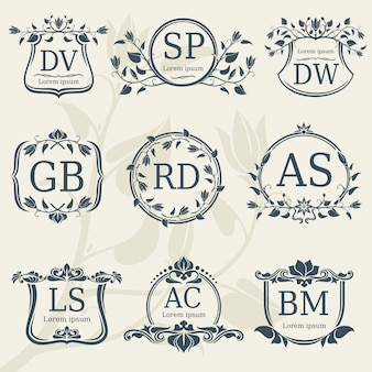 Vintage elegance wedding monograms with floral frames