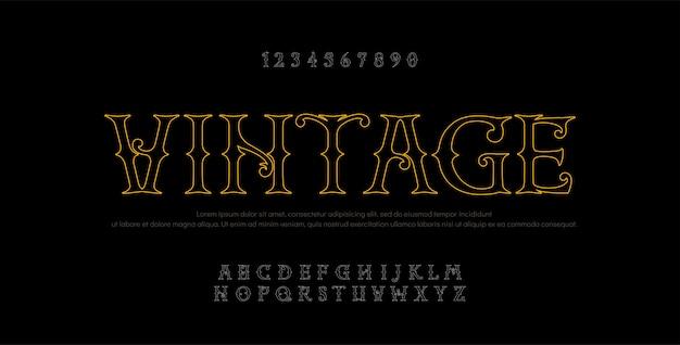 Vintage elegant alphabet line letters sans serif