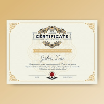Vintage elegant certificate of achievement