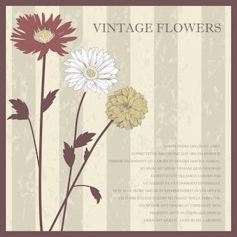 파스텔 색상-그림에서에서 빈티지 우아한 꽃 엽서.
