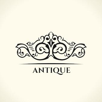 빈티지 우아한 로고 디자인과 꽃 왕실 엠블럼