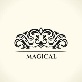 빈티지 우아한 로고 디자인과 붓글씨 꽃 엠블럼