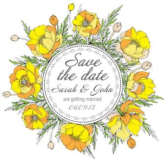Винтажное элегантное свадебное приглашение или открытка save the date с графическими желтыми цветами (троллиус)