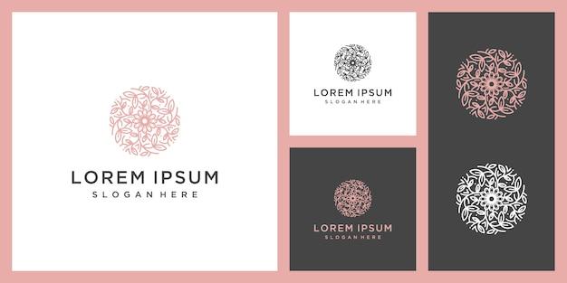 Цветочный раунд vintage elemen, эко органический продукт, роскошный логотип красоты вдохновение