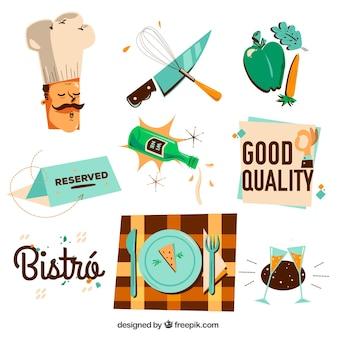 레스토랑 및 요리사 세트의 빈티지 요소