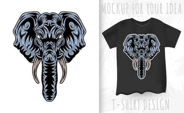 ヴィンテージの象の顔。白い背景に分離されたビンテージスタイルの見出し。