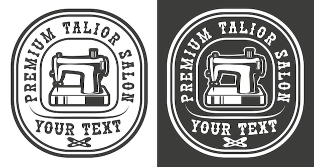 Vintage emblem of a craft tailor salon theme with sewing machine