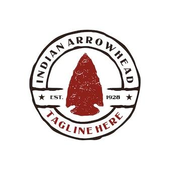 ヴィンテージエンブレムインドの矢じりのロゴ