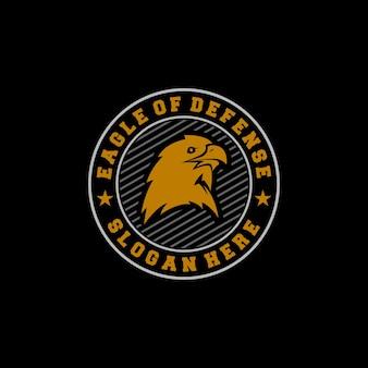 Vintage emblem logo eagle of defense with head silhouette eagle