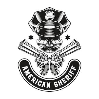 A vintage emblem of a policeman skull with guns