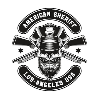 A vintage emblem of a policeman skull