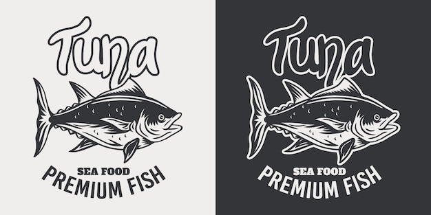 Vintage emblem tuna fish retro isolated   illustration on a white  .