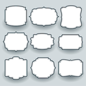 Vintage empty frame labels set of nine